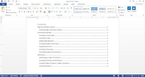 Cara Membuat Daftar Isi di Word 2010